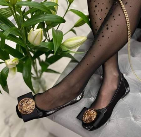 Włoskie skórzane czarne balerinki 2421003LL Tuffoni