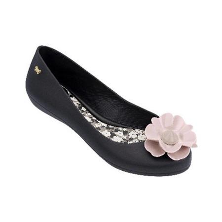 Zaxy meliski balerinki Nature czarny z różowym kwiatem